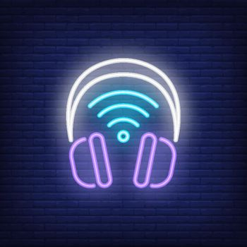 Headphones with wi-fi symbol neon sign