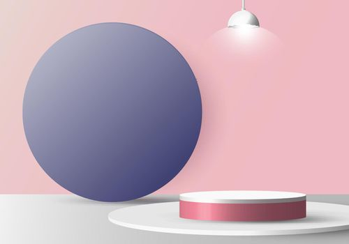 3D realistic empty white round pedestal mockup with lamp on soft pink background and blue circle backdrop