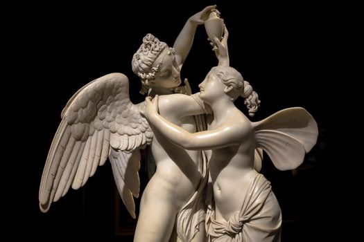 MILAN, ITALY - June 2020. Giovanni Maria Benzoni's masterpiece Cupid and Psyche (Amore e psiche, 1845), symbol of eternal love.