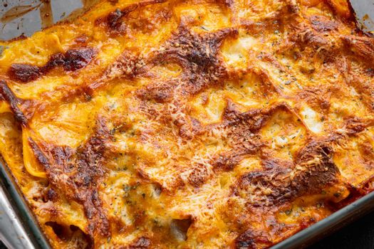 Baked meat lasagna, in baking tray