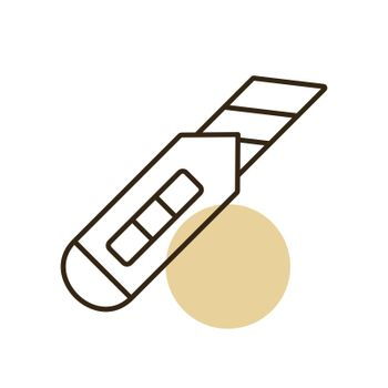 Construction utility knife vector isolated flat icon