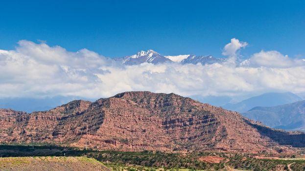 Scenic view of the snow topped El Plata mountain range, in Mendoza, Argentina.