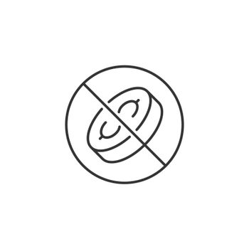 No Coins Related Vector Line Icon. Sign Isolated on the White Background. Editable Stroke EPS file. Vector illustration.
