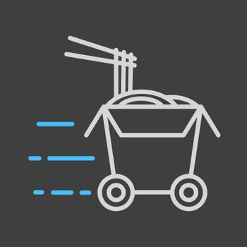 Wheeled wok box vector icon. Delivery sign