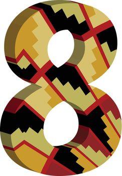 3d font number 8