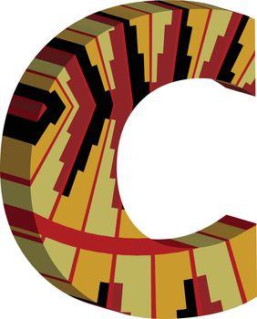 3d font letter c