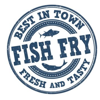 Fish fry grunge rubber stamp