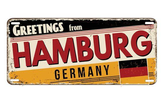 Greetings from Hamburg vintage rusty metal plate