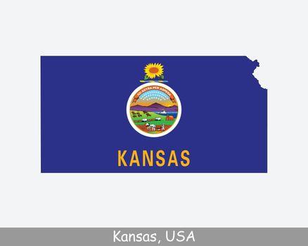 Kansas Map Flag