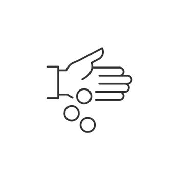 Hand Pouring Coins Related Vector Line Icon. Sign Isolated on the White Background. Editable Stroke EPS file. Vector illustration.