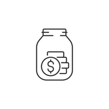 Tips Jar Related Vector Line Icon. Sign Isolated on the White Background. Editable Stroke EPS file. Vector illustration.