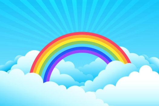 rainbow covered in clouds and sky background