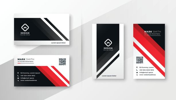 geometric business card design in red theme