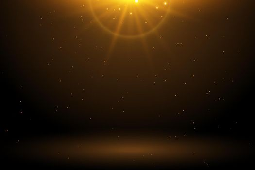 golden light flare with sparkle empty background