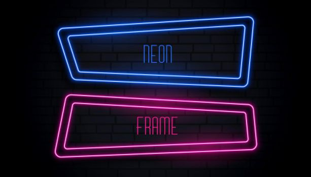 blue and pink neon frame with copyspace
