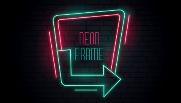 glowing neon arrow signage with text space