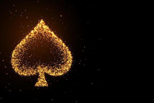 glowing golden glitter spades symbol on black background