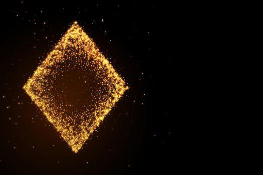 glowing golden glitter diamond symbol on black background
