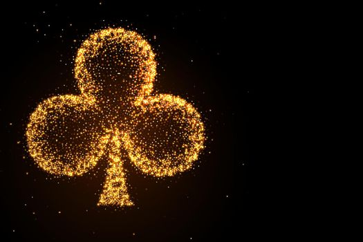 glowing golden glitter clubs symbol on black background