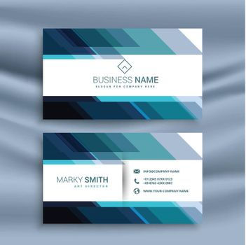 abstract diagonal lines style blue business card design