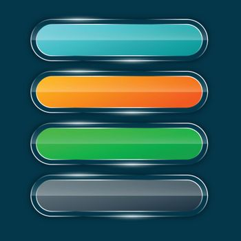 shiny glossy wide banners or buttons set