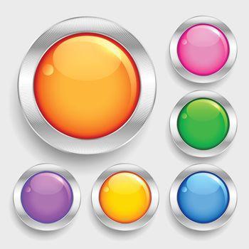 bright glossy shiny circles round buttons set
