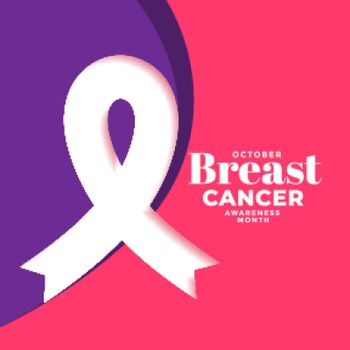 creative breast cancer month poster design with ribbon