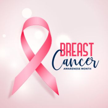 breast cancer awareness month with realistic pink ribbon