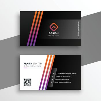 abstract black visiting card with colorful lines