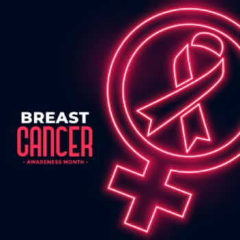 breast cancer awareness month poster in neon style