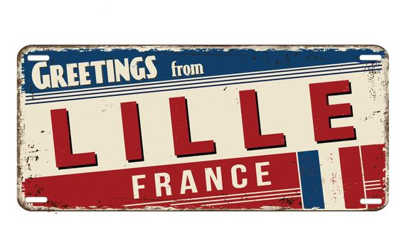 Greetings from Lille vintage rusty metal plate