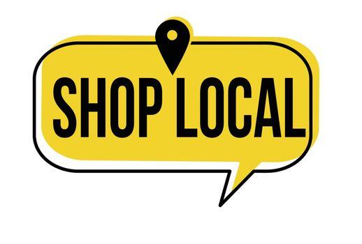 Shop local speech bubble