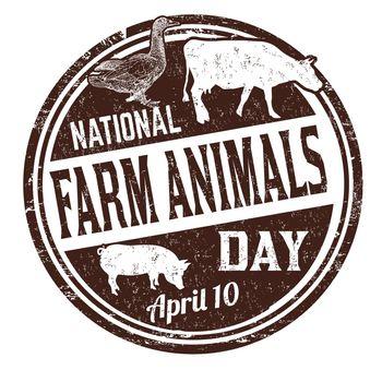 National farm animals day grunge rubber stamp