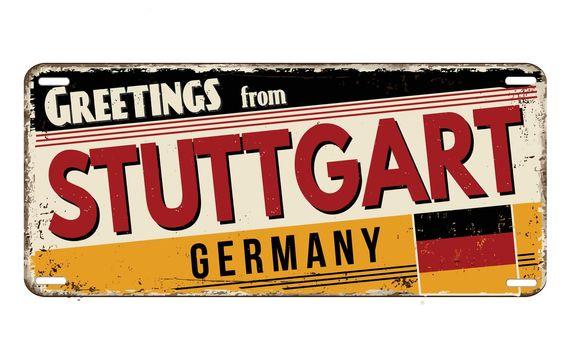 Greetings from Stuttgart vintage rusty metal plate