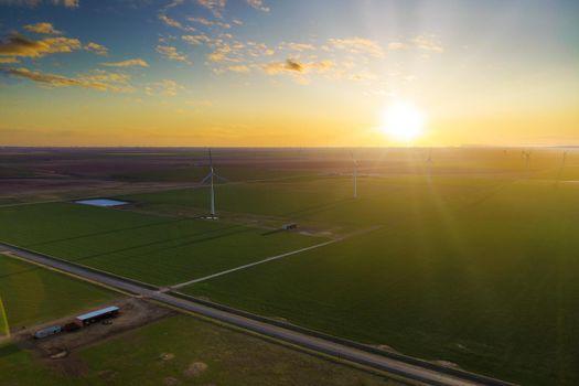 A wind turbine farm in rural West Texas on highway