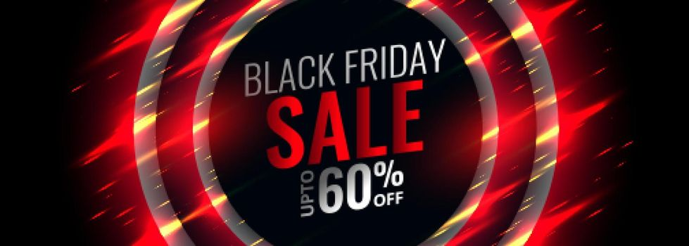 black friday red banner with sparkle glows