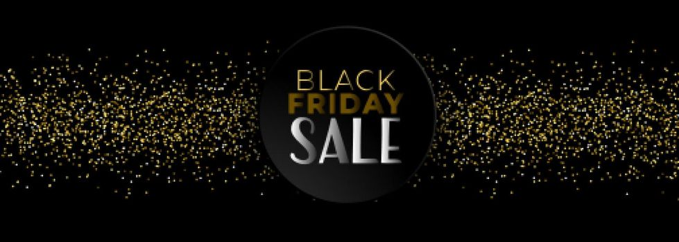 black friday sale banner with golden glitter