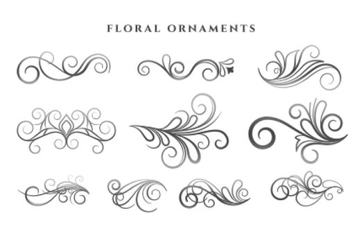 set of floral ornaments decoration swirl patterns