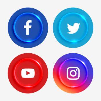 popular social media logotypes buttons set
