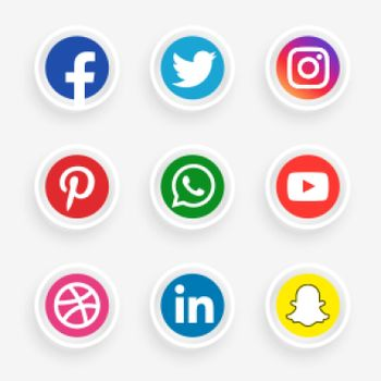 elegant social media logotype set
