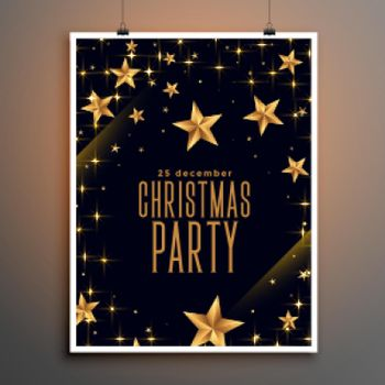black and golden stars christmas party flyer design