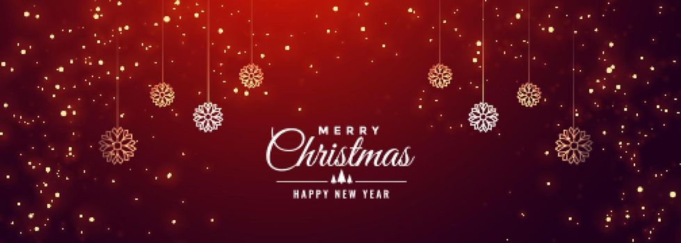 merry christmas sparkle red banner design template