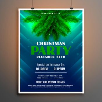 christmas party flyer with pine tree leaves