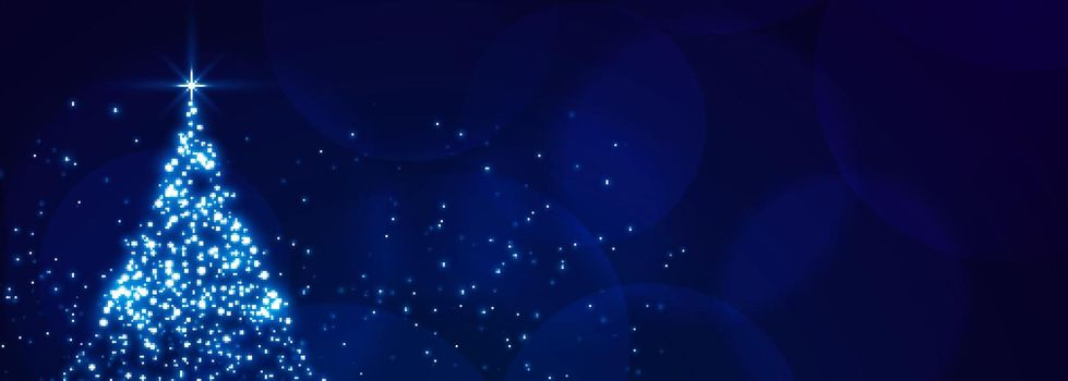 christmas sparkle tree blue festival banner design