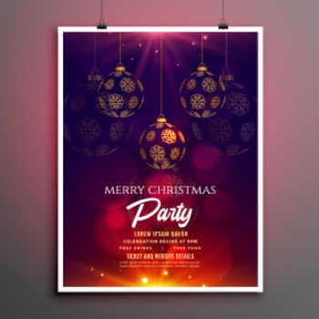 merry christmas party invitation flyer template design