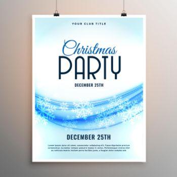 elegant christmas party snowflakes style flyer template