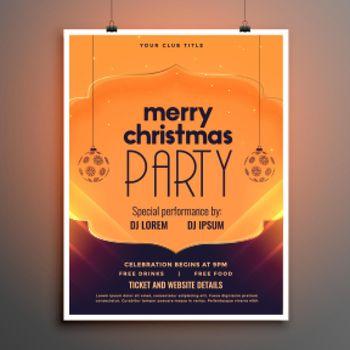 merry christmas elegant party flyer design template