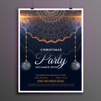 merry christmas party luxurty flyer design template