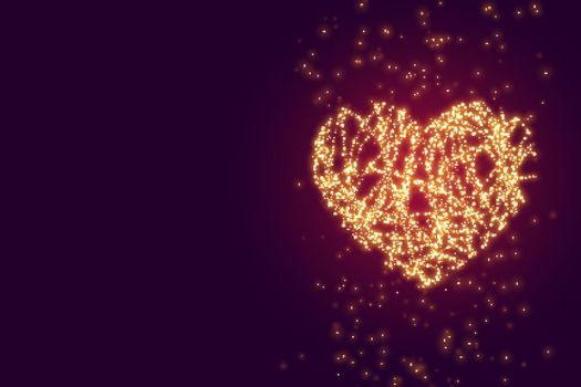 glowing sparkle heart with text space background