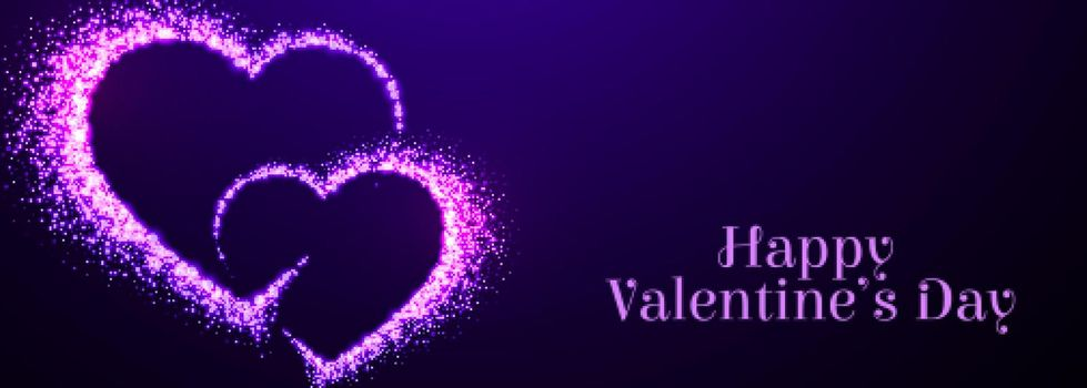 two sparkle purple hearts for valentines day